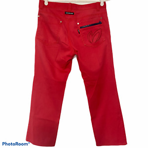 Master Bunny Edition Mens Red Golf Pants Japan Size 5 W34 Zip Pocket Dad Gift