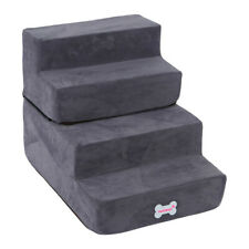 High Density Foam 4 Tier Pet Dog Stairs/Pet Ramp/Pet Ladder With Soft Step Gray