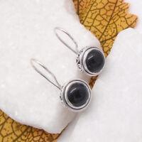 Onyx, schwarz black, rund, gothic, Ohrringe, Ohrhänger, 925 Sterling Silber neu