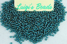 11/0 Round Toho Japanese Glass Seed Beads #27Bd-Silver-Lined Teal 15 grams