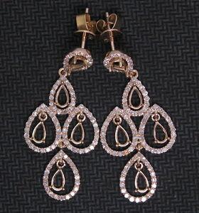 Pear 4×6MM 14K Rose Gold Natural Diamond Chandelier Pendant Earrings Semi Mount