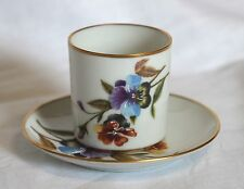 FM Limoges France hand painted flowers demitasse cup and saucer