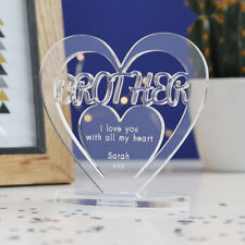 Personalised Heart with Message Ornament Keepsake Brother Birthday Gift