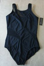 INC International Concepts One Piece Sz 12 Black Mesh Cut Outs Swimsuit 469922