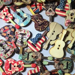 18x36mm Mixed Wooden Button Guitar Patterns Sewing Decorative Instrumental Music
