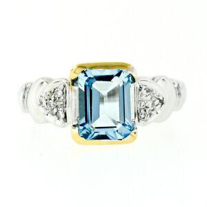 18k Two Tone Gold 1.75ctw Emerald Step Cut Aquamarine & Diamond Heart Shank Ring