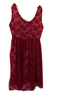 Audrey 3+1 Sleeveless Red Lace  Empire Waist Dress Size Small