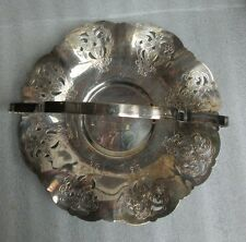 VINTAGE HANDLED TRAY BASKET SILVERPLATE Signed SILVERWARE SP PRODUCTS E P COPPER