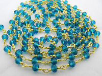 6 Feet Swiss Blue Topaz Chain , Wire Wrapped Rosary Chain Gold Plated 3mm Beads