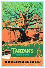 "VINTAGE DISNEY TARZAN'S TREEHOUSE POSTER 12"" X 18"""