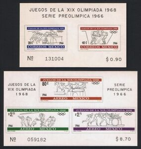 Mexico Olympic Games 1968 2 MSs 1966 MNH SG#MS1123-MS1127 MI#Block 5-6