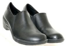 Clarks Grasp Chime Black Leather Pull-On Slip-Resistant Work Clog Women's US 7M