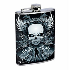 Flask 8oz Stainless Steel Skull D 3 Wings Drinking Hip Flask Whiskey