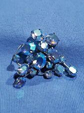 CORO Blue Aurora Borealis Style Pin Vintage Signed Silver Tone