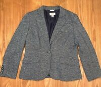 Talbots Women's Size 12 L Black & White Tweed Long Sleeve Lined Jacket