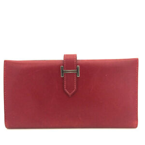 HERMES Bearn Red Calf leather Long Bifold Wallet /F1226