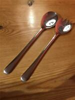 Vintage Stylish Mayell Silver Plated Pair Serving Salad Spoon and Fork 24cm