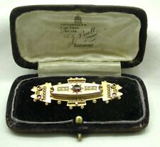 Beautiful Edwardian 9ct Gold Ornate Garnet And Pearl Locket Brooch Original Case