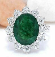 4 Carat Green Emerald and Diamond 18K White Gold Over Wedding Engagement Ring