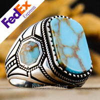 925 Sterling Silver Turkish Handmade Turquoise Stone Men's Luxury Ring All Sizes