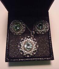 NEW! Blue Topaz Pendant Necklace & Earrings SET 925 Sterling Silver PRETTY 33d