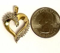 14k yellow gold .48ct SI2 H diamond heart pendant charm 4.5g estate vintage