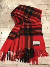 Fab! Vtg Johnstons of Elgin Red Plaid Lap Throw Blanket 100% Wool made Scotland