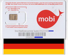 NEW, €7.50 included. Mobi GERMAN, PREPAID SIM card. MICRO/STD or NANO size.