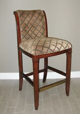 Heavy duty bar stool, wood, upholstered seat/back, brass cover foot rest