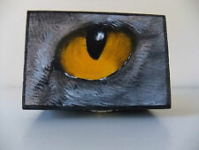 Cats Eye  Design. Jewellery/Trinket Wooden Box, Hand Painted & Signed