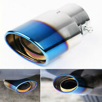 Universal ID 2.5''/60mm Car Stainless Steel Exhaust Pipe Muffler Tip Tail Blue
