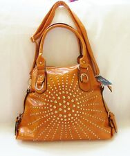 NEW DS ORANGE GLOSS LEATHERETTE+CRYSTALS+GOLD STUDS SATCHEL,PURSE,BAG+CROSSBODY