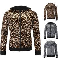 Men's Print Leopard Graphics Sweatshirt Jacket Pullover Hoodie Sweater Tops New