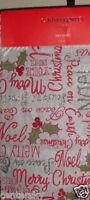"New Cynthia Rowley Table Runner 14x72"" Christmas Holiday Beaded Silver Red Green"