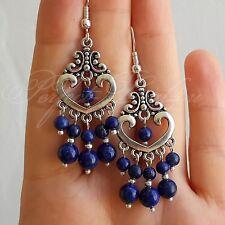 925 Sterling Silver Hook dark Blue Lapis Lazuli stone Chandelier Earrings