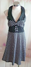 Living Dead Souls Dress.polkadots.Halterneck.Goth Punk 50s Rock.size16-18uk