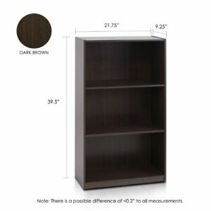 Furinno Basic 3-Tier Bookcase Storage Shelves, Dark Brown