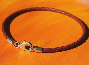Mens / Ladies 3mm Red braided leather & sterling silver bracelet by Lyme Bay Art