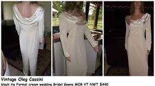 vintage oleg cassini black tie Formal cream wedding Bridal Gowns MOB VT NWT $440