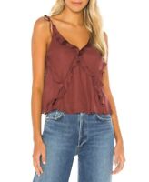 Free People Womens OB927831 Top Relaxed Cocoa Berry Brown Size XS
