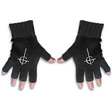 Ghost White Logo Official Fingerless Black Gloves Rock Band Knitted Cotton