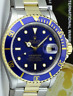ROLEX - Mens 40mm 18kt Gold & Stainless Submariner Blue Index 16613 - SANT BLANC