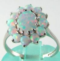 CLASSIC 9CT 9K WHITE GOLD ALL AAA OPAL CLUSTER ART DECO INS RING FREE RESIZE