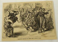 1881 magazine engraving~MEN PLAY MUSIC & DANCE to call people to arms ~ HOLY WAR