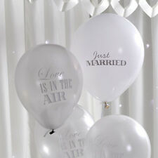 Pack of 8 Chic Boutique Wedding Balloons White & Silver Air or Helium