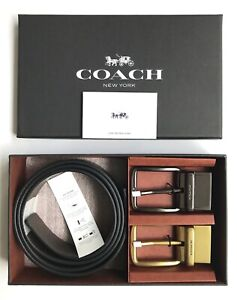 Coach * Men's Wide Belt Box Set F55434 AQ0 Pebbled Leather Black x Brown