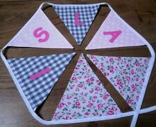 Personalised Name Bunting Girls Pink and Grey  £1.25 PER FLAG