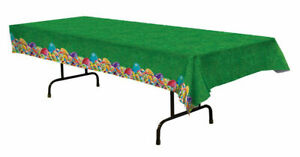 GRASS PRINT EASTER TABLECLOTH WITH EGG BORDER TABLE COVER PARTY DECORATION EGGS