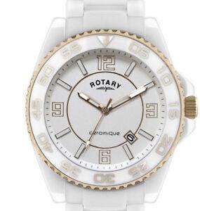 Rotary CEWBG-18 Unisex Vintage Ceramique White Watch  Ceramique Bracelet/L