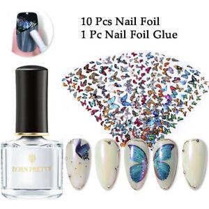 11Pcs/Set Nail Foil Glue Butterfly Flower Patterns Nail Foils Transfer Sticker